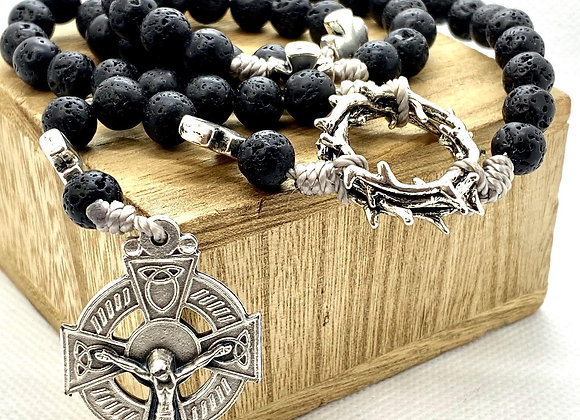 Rosary Black Crown of Thorns with Celtic Cross