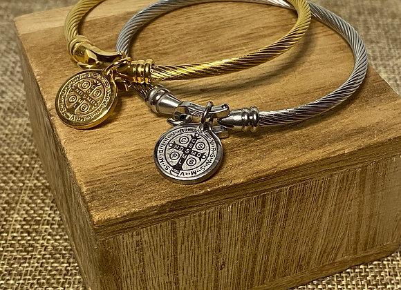 Stainless Steel Bracelet, Saint Benedict