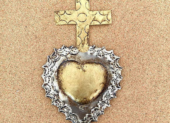 Heart with cross, gold color