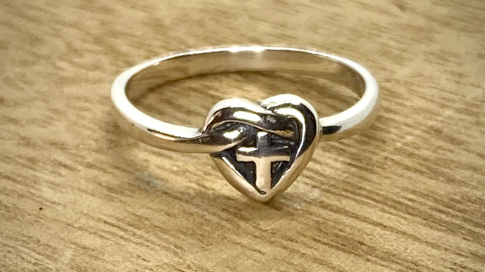 Sterling Silver Ring Cross within a Heart-Knot