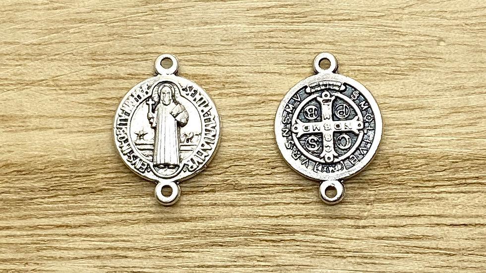 Rosary Connector, Saint Benedict medal,  Italian metal, Italian made.