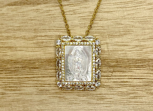 Necklace Our Lady Guadalupe Mother pearl, Silver color, Stainless Steel chain.