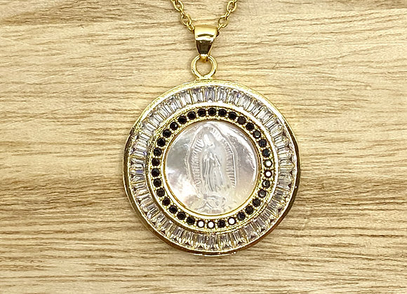 Necklace Our Lady Guadalupe Mother pearl, Stainless steel gold color chain.