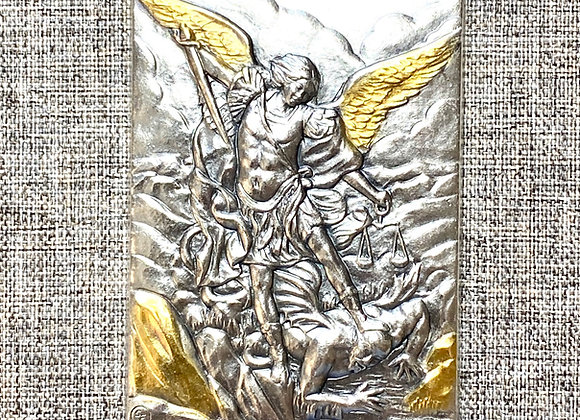 St. Michael Archangel metal plaque.
