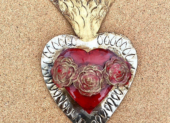 Heart with Roses, red.  Dacred heart of Mary.