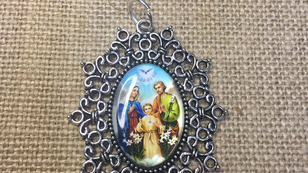 Holy Family, color medal, silver color frame