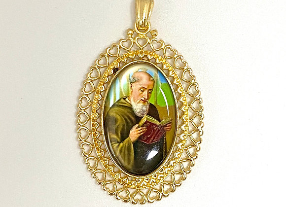 Color Medal, Saint Benedict medal, golden color frame.