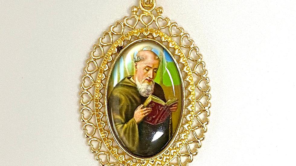 Color Medal, Saint Benedict medal, golden color frame.