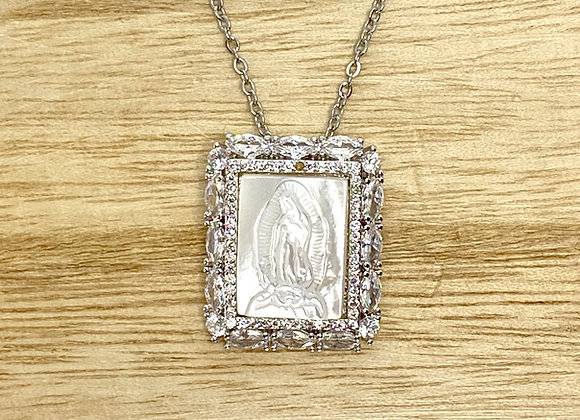 Necklace Our Lady Guadalupe Mother pearl. Silver color, Stainless Steel Chain.