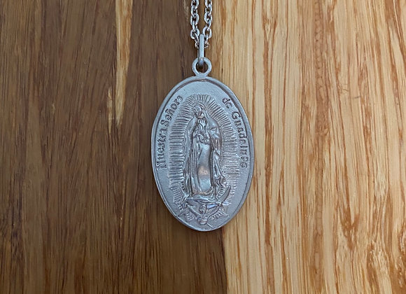 Stainless steel Guadalupe medal and necklace chain