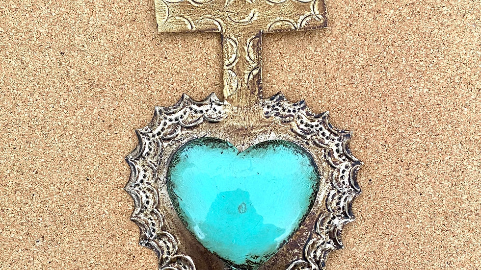 Heart with Cross, turquoise color