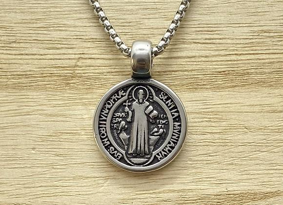 St. Benedict sterling silver medal.