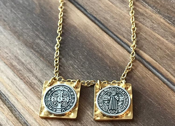 St. Benedict  medal gold plated scapular necklace