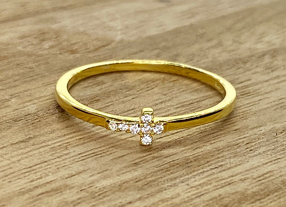 Sterling Silver Ring with one Cross, gold color