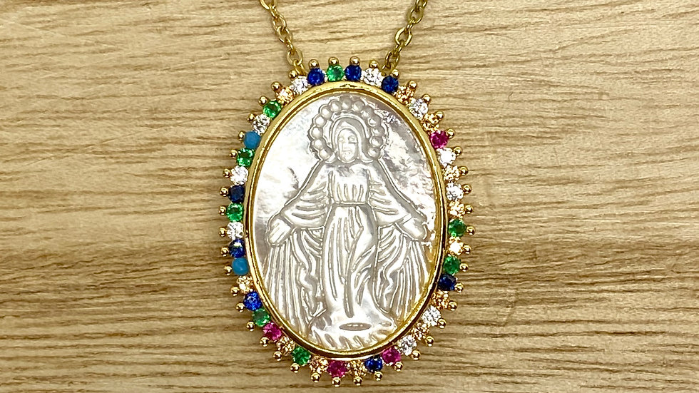 Necklace, Miraculous Medal mother pearl necklace. Stainless steel chain.