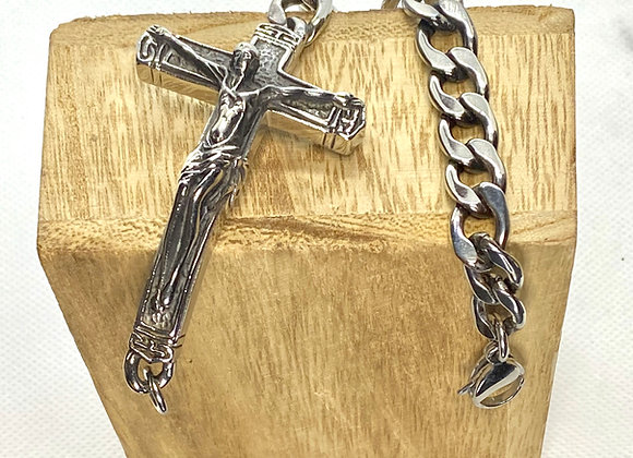 Bracelet Crucifix men, Stainless Steel.