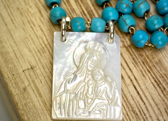 Scapular Mother of Pearl necklace, Our Lady of Mount Carmel.