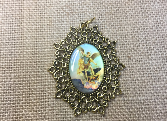 Saint Michael Archangel, color medal, gold color frame