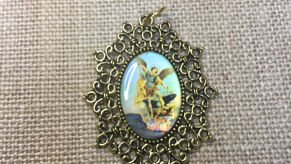 Saint Michael Archangel, color medal, gold color frame