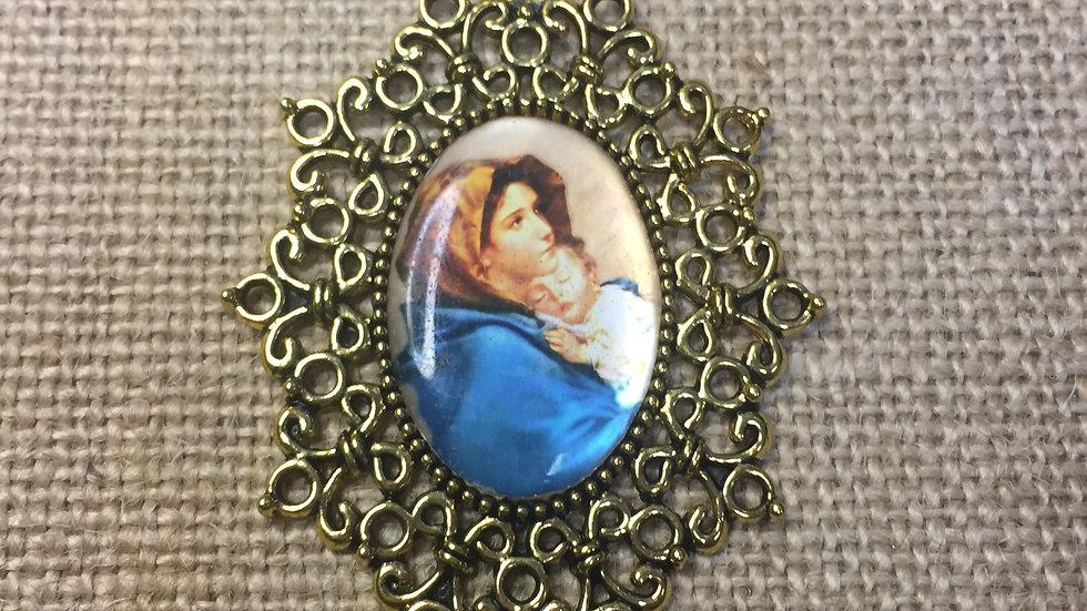 Our Lady, Color medal, gold color frame