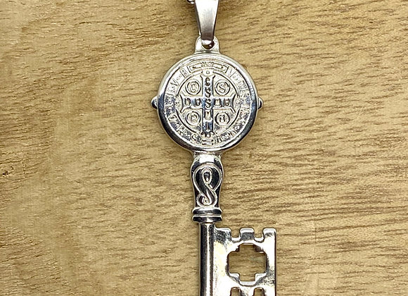 Necklace St. Benedict key medal.