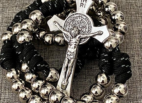 Rosary Rugged Paracord, black and grey cord.