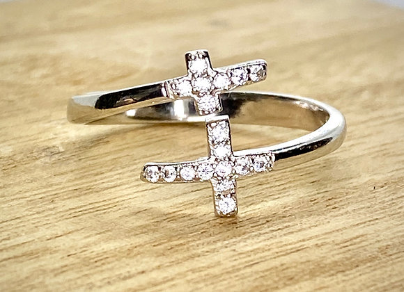 Sterling Silver Ring, two Crosses