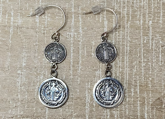 St. Benedict medal earrings, Sterling Silver 925