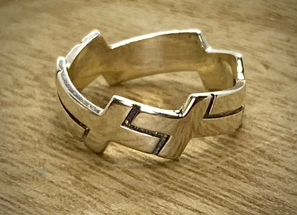 Sterling Silver Ring with Crosses all around