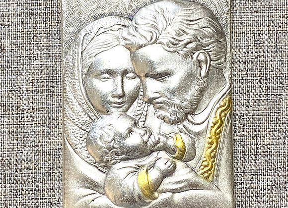 Holy Family metal plaque.