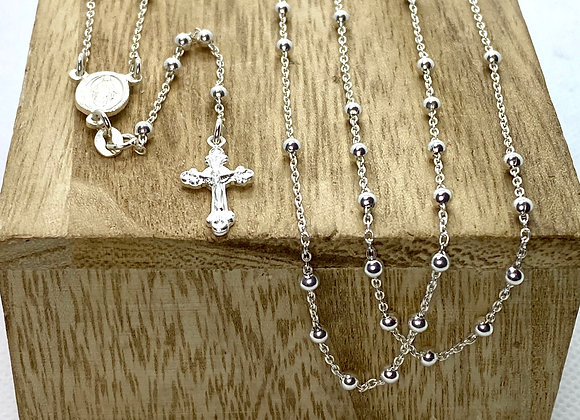 Rosary, Sterling Silver Miraculous Medal center piece.