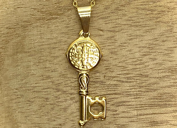 Necklace St. Benedict Key medal. Stainless Steel chain.
