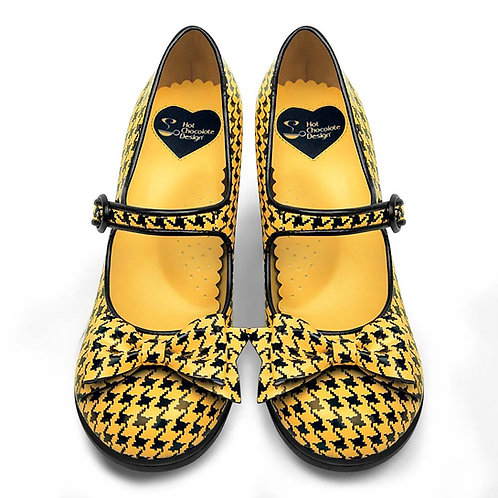Chocolaticas Mid heel hounds tooth Yellow