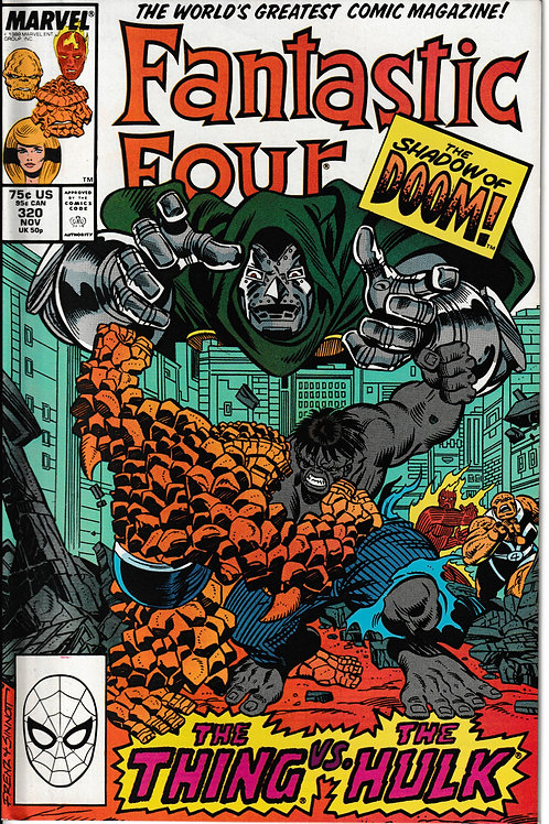 FANTASTIC FOUR 320 Nov 88 New Old Stock Never Read Grey Hulk VS The Thing