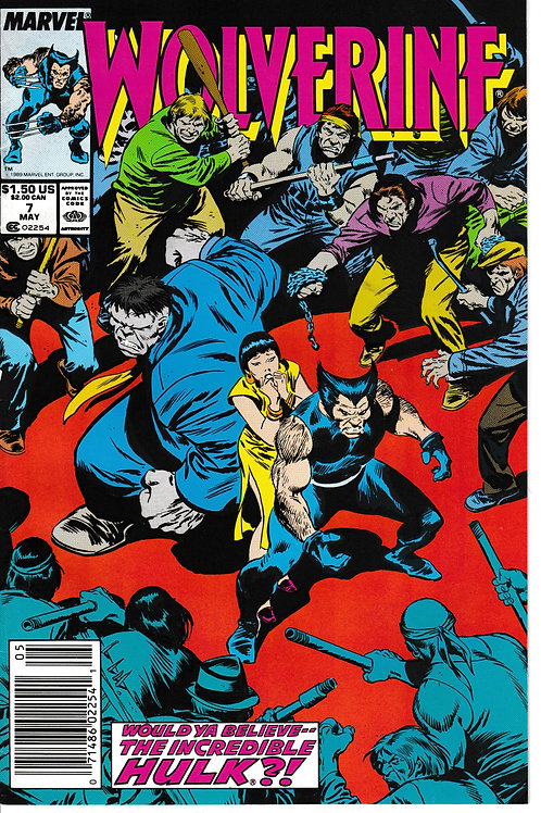 WOLVERINE 7 Marvel May 89 Guest Stars The Incredible Hulk