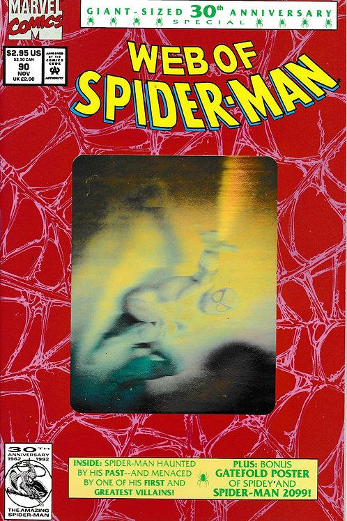 WEB OF SPIDER-MAN 90 Marvel Nov 92 Gold Hologram 2nd Print