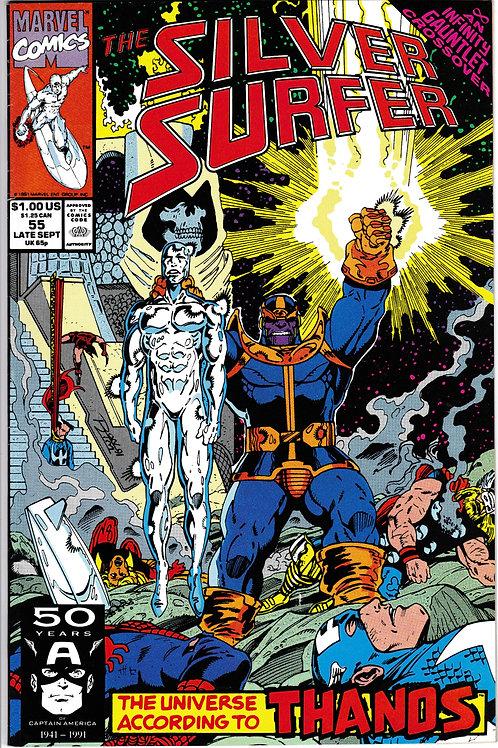 SILVER SURFER 55 Marvel Vol 3 Sept 91 Infinity Gauntlet X-Over Thanos