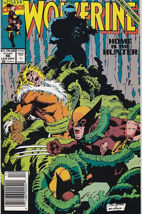 WOLVERINE 46 Vol 2 Marvel Sept 91 Sabretooth Cover Story