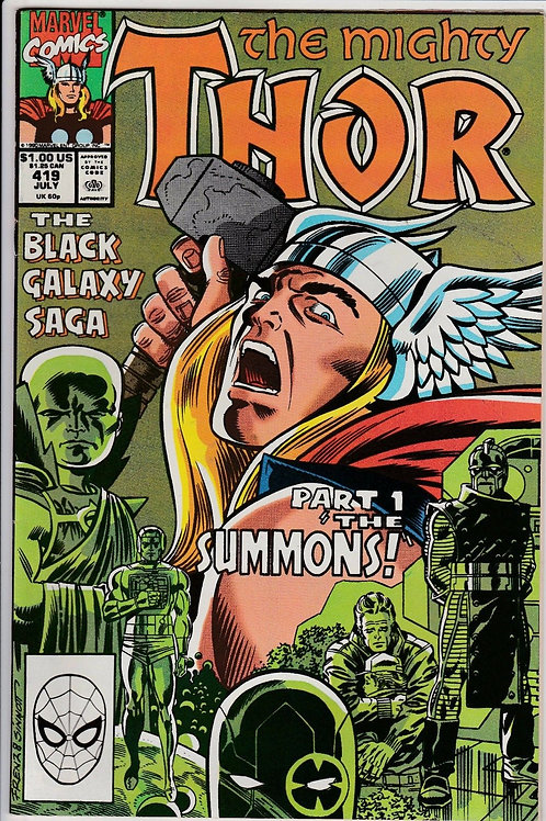 THOR 419 Jul 90 Origin Celestials Black Galaxy Saga