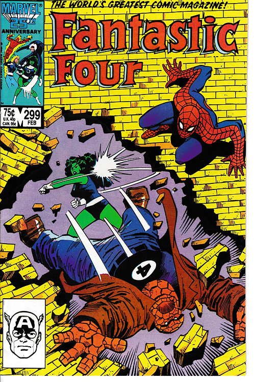 FANTASTIC FOUR 299 Feb 87 Guest Stars Spider-Man & Thing vs She-Hulk