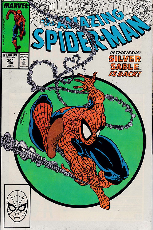 AMAZING SPIDER-MAN 301 Jun 88 Guest Star Silver Sable McFarlane Cover
