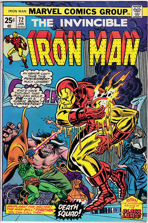 IRON MAN 72 Marvel Jan 75 Black Lama App Iron Man San Diego Comic Con