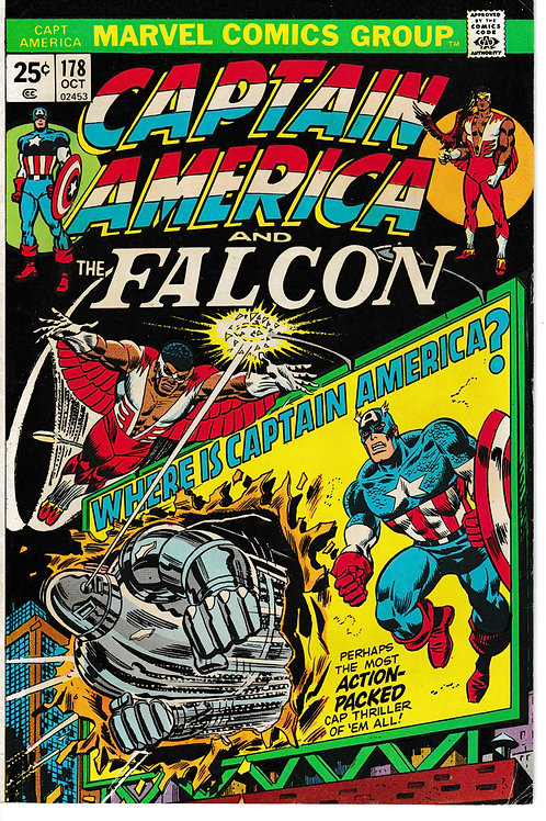 CAPTAIN AMERICA 178 Oct 74 1st App Roscoe Captain America for a time