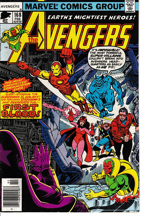 AVENGERS 168 Feb 78 Guest-stars the Guardians of the Galaxy