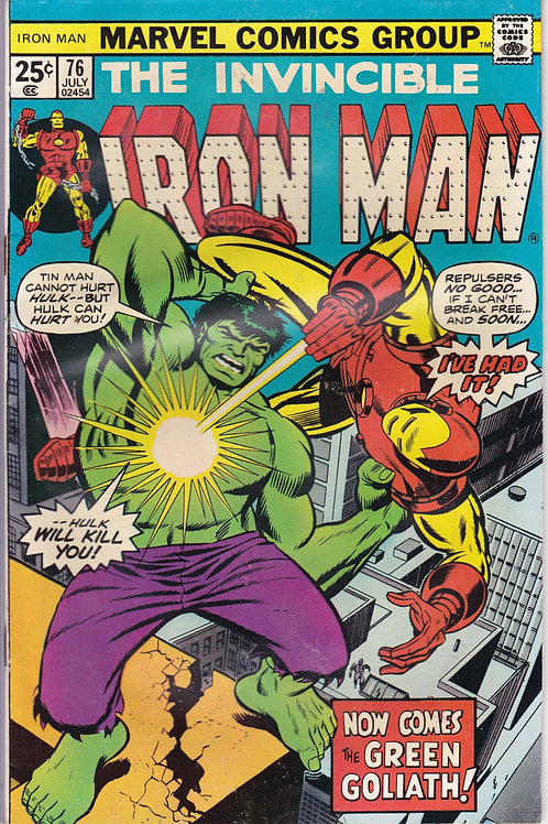 IRON MAN 76 Jul 75 Robot Hulk Fights Iron Man