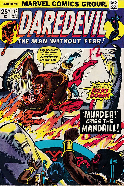 DAREDEVIL 112 Aug 74 VF Conclusion of Black Spectre Story