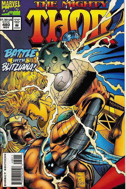 THOR 480 Nov 94 Marvel Battle with Blitziana