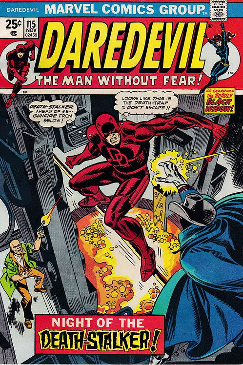 DAREDEVIL 115 Nov 74  Black Widow guest app Gladiator Man-Thing Cameo