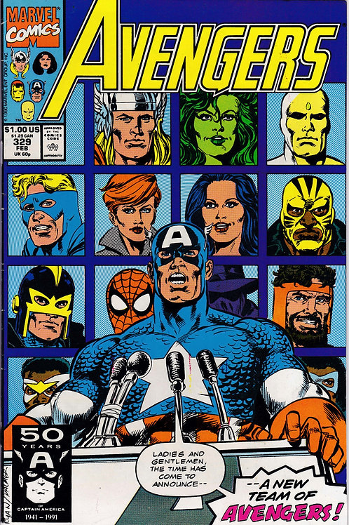 AVENGERS 329 Marvel Vol 1 Feb 91 New Team of Avengers