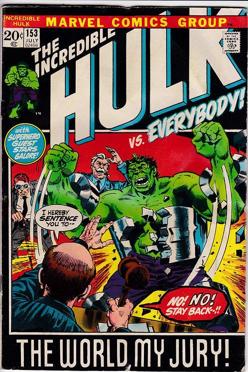 Incredible Hulk 153 Hulk on trial Daredevil Fantastic Four Avengers
